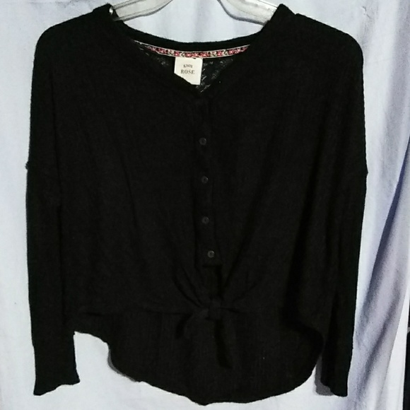 Knox Rose women\u0027s long sleeve black sweater